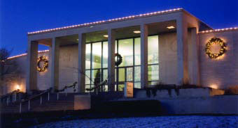 nighttime view of Truman Library with lights