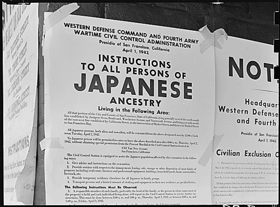 signage of Japanese-American internment camps