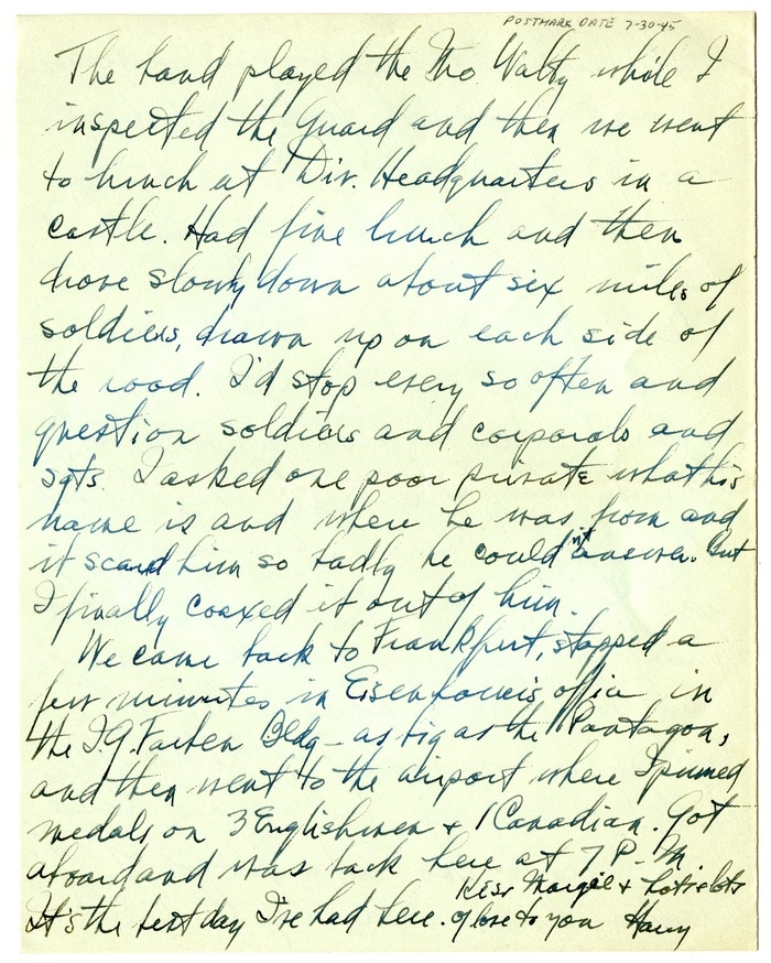 Letter from Harry S. Truman to Bess W. Truman
