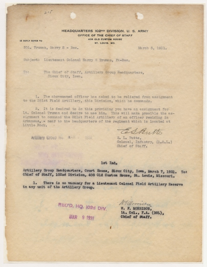 Correspondence Between Colonel E. L. Butts and Lieutenant Colonel W. F. Morrison