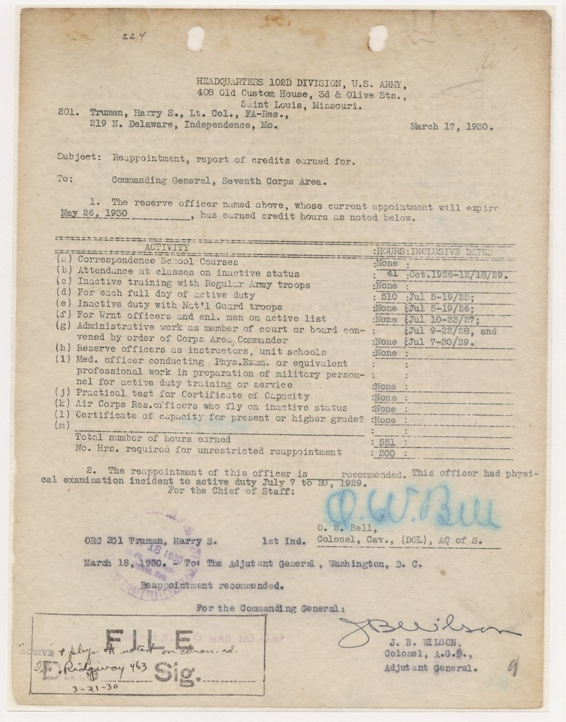 Report of Credits Earned for Reappointment for Lieutenant Colonel Harry S. Truman