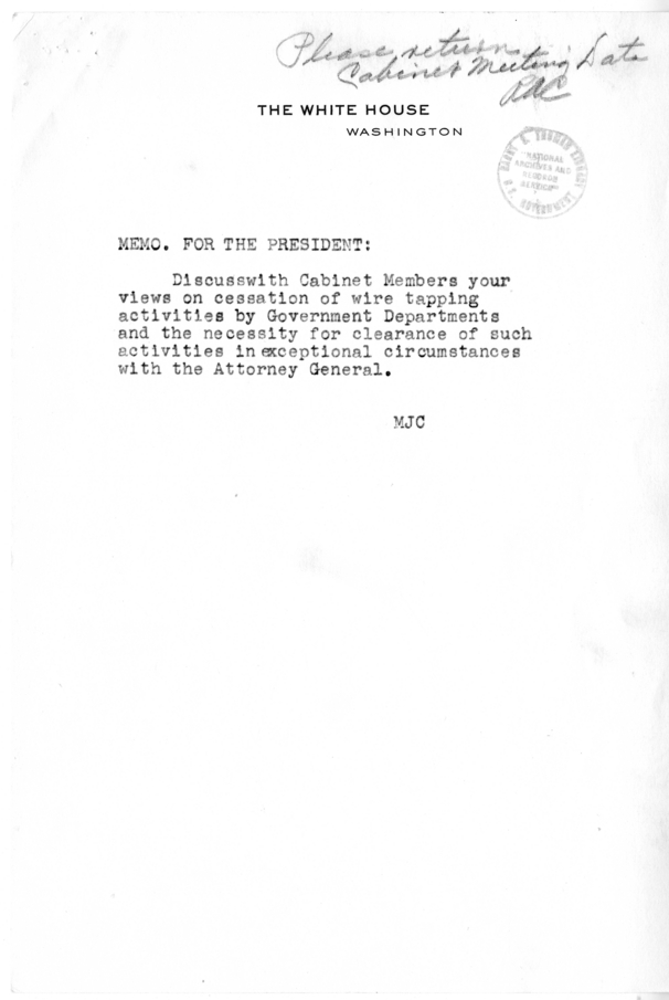 Memorandum from Matthew J. Connelly to President Harry S. Truman
