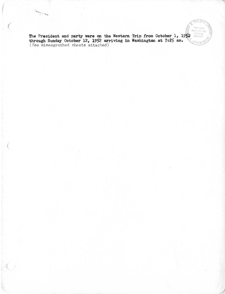 Itinerary And List Of The President S Party For President Harry S Truman S Western Campaign Trip Harry S Truman