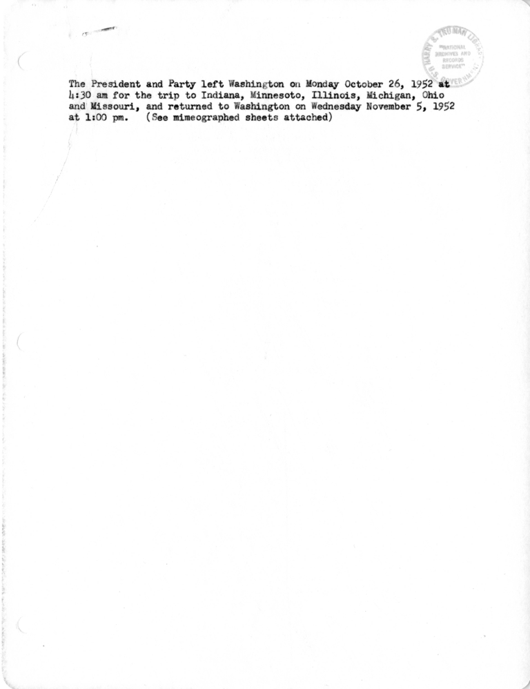 Itinerary And List Of The President S Party For President Harry S Truman S Campaign Trip Harry S Truman