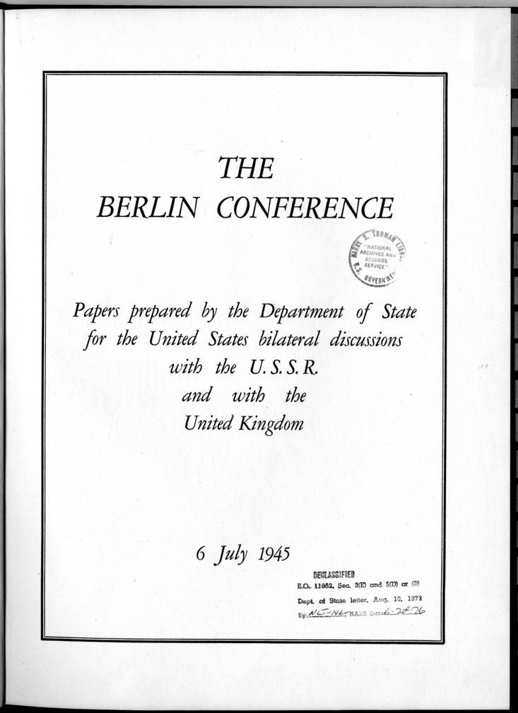 Cover and Table of Contents of The Berlin Conference Papers Prepared by the Department of State for the United States Bilateral Discussions with the U.S.S.R. and with the United Kingdom
