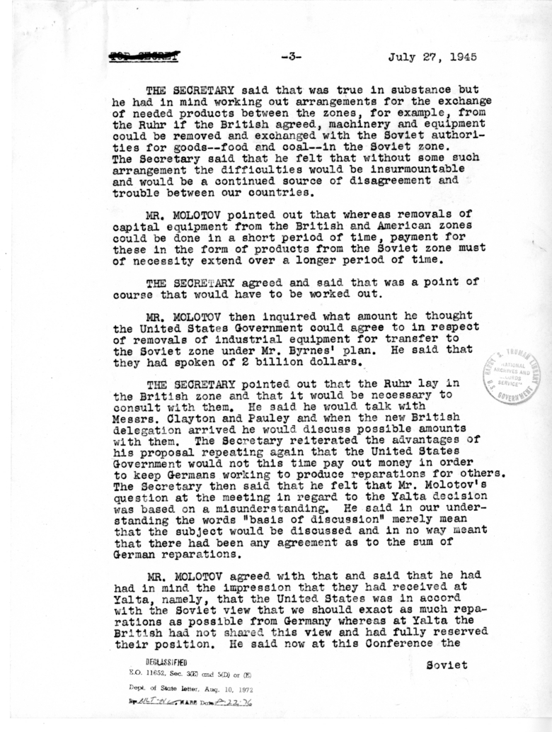Minutes of the Meeting of American and Soviet Foreign Ministers