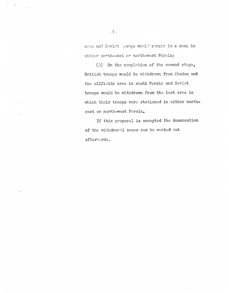 Draft Paper for Circulation to the Conference Regarding Troop Withdrawals in Persia