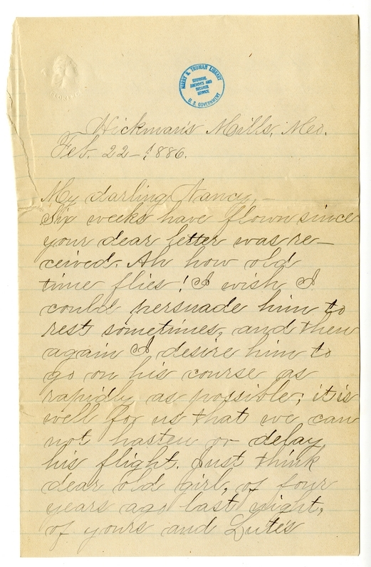 Letter from Mary Martha Truman to Nancy Bentley