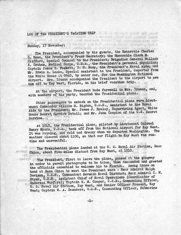 Log of President Harry S. Truman's First Vacation to Key West, Florida