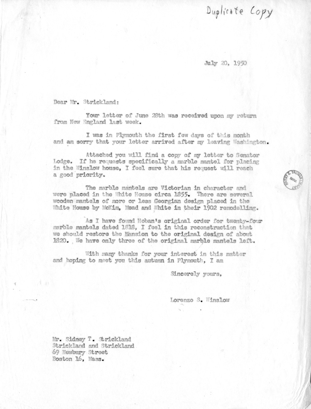 Letter from Lorenzo Winslow to Mr. Sidney T. Strickland