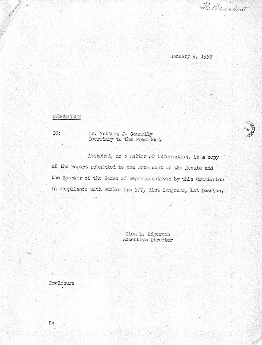 Memorandum from Major General Glen E. Edgerton to Mr. Matthew J. Connelly, with Attachment