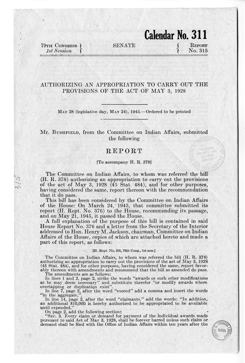 Memorandum from Harold D. Smith to M. C. Latta, H.R. 378, Authorizing an Appropriation to Carry Out the Provisions of the Act of May 3, 1928 (45 Stat. 484), and for Other Purposes, with Attachments