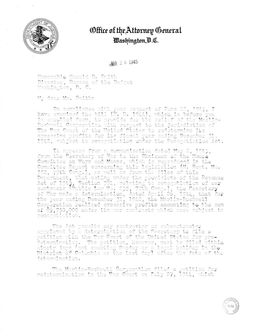 Memorandum from Harold D. Smith to M. C. Latta, H.R. 1044, For the Relief of Marlin-Rockwell Corporation, with Attachments