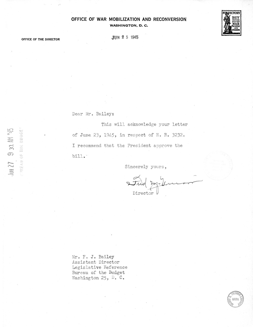 Memorandum from Harold D. Smith to M. C. Latta, H. R. 3232, to Amend an Act to Authorize the President to Requisition Certain Articles and Materials for the Use of the United States, With Attachments