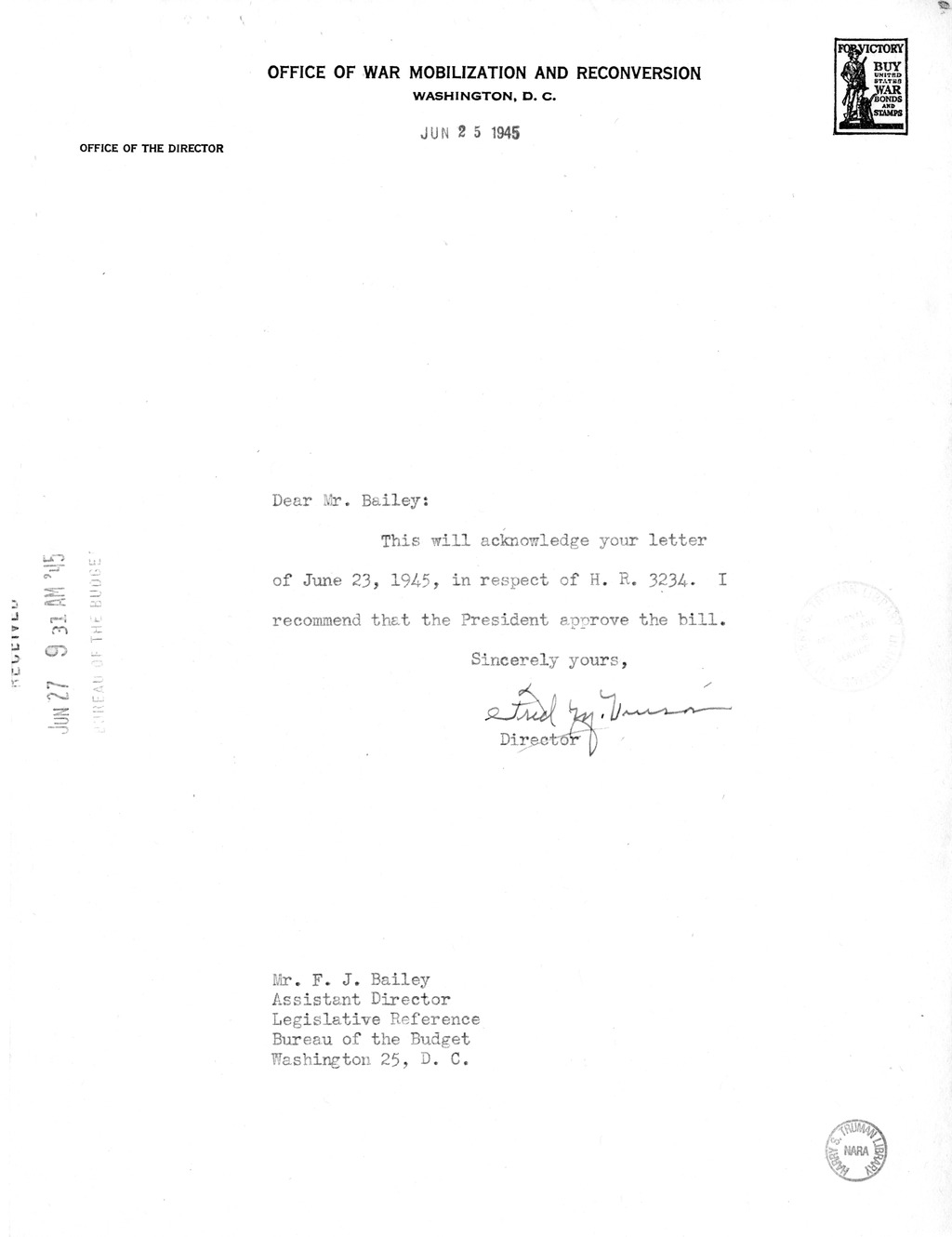 Memorandum from Harold D. Smith to M. C. Latta, H.R. 3234, To Amend An Act to Authorize the President of the United States to Requisition Property Required for the Defense of the United States', Approved October 16, 1941, as Amended, for the Purpose of Co