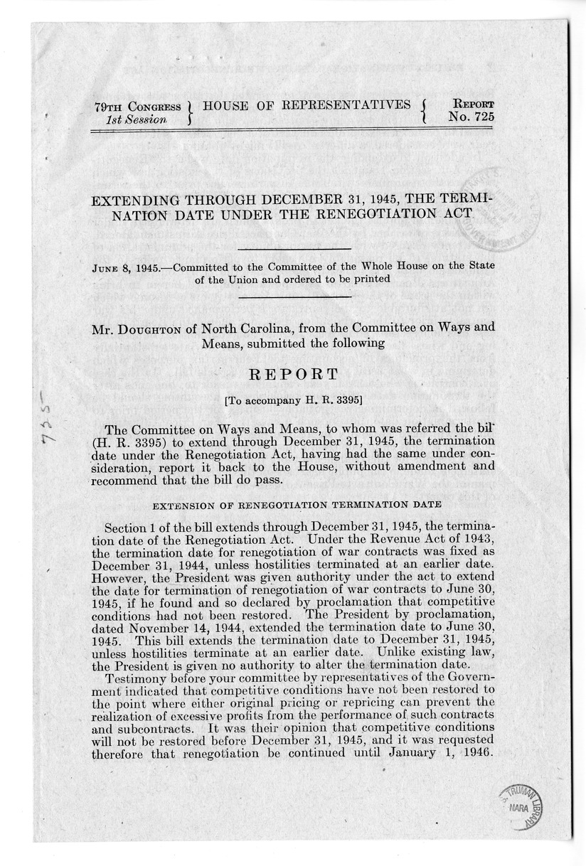 Memorandum from Harold D. Smith to M. C. Latta, H.R. 3395, To Extend Through December 31, 1945, the Termination Date Under the Renegotiation Act, with Attachments