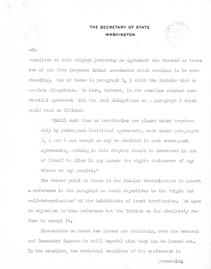 Memorandum from Secretary of State Edward R. Stettinius to President Harry S. Truman