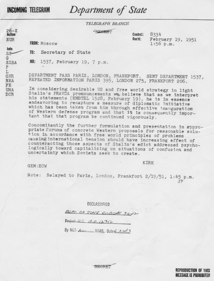 State Department Summary of Telegrams