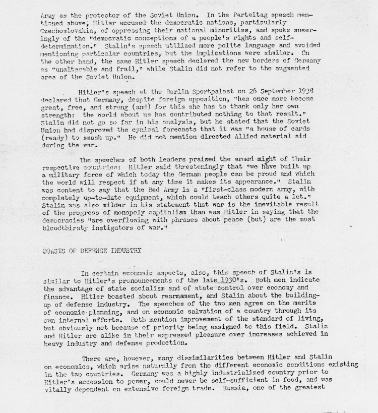 "Memorandum, ""Analysis of Stalin\'s Address to Moscow Constituency\"""