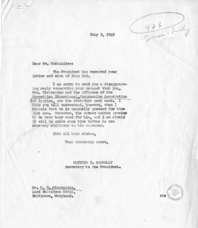 N.E. Nicolaides to Harry S. Truman, with a reply by Matthew Connelly