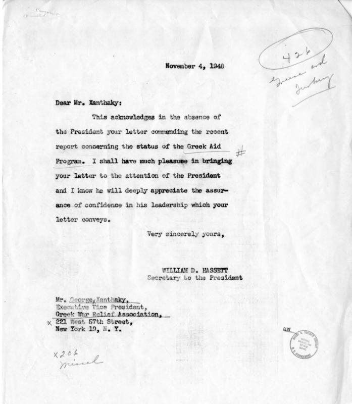George Xanthaky to Harry S. Truman, with reply by William Hassett