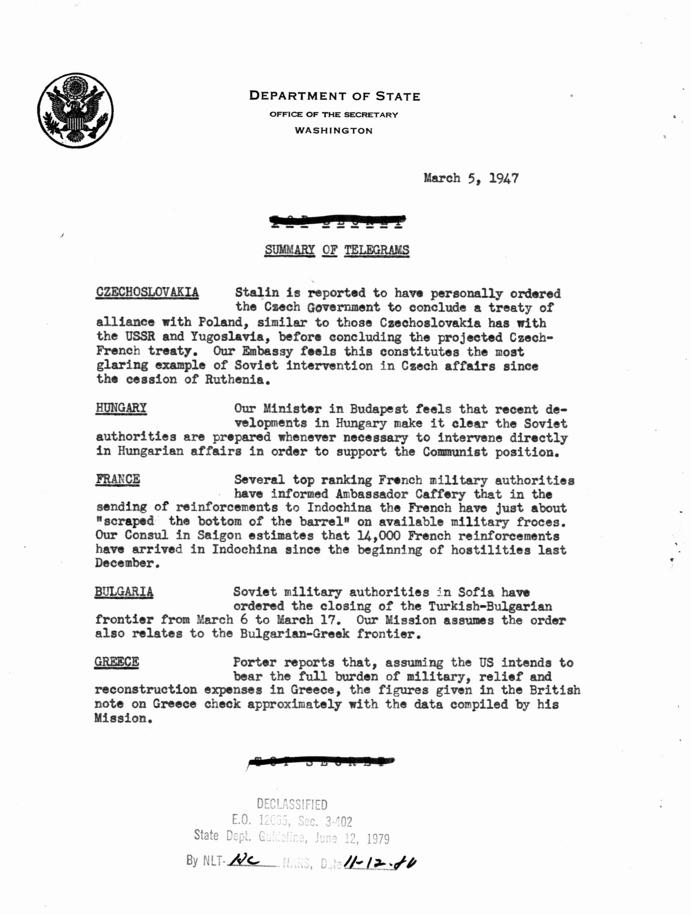 Department of State Summary of Telegrams