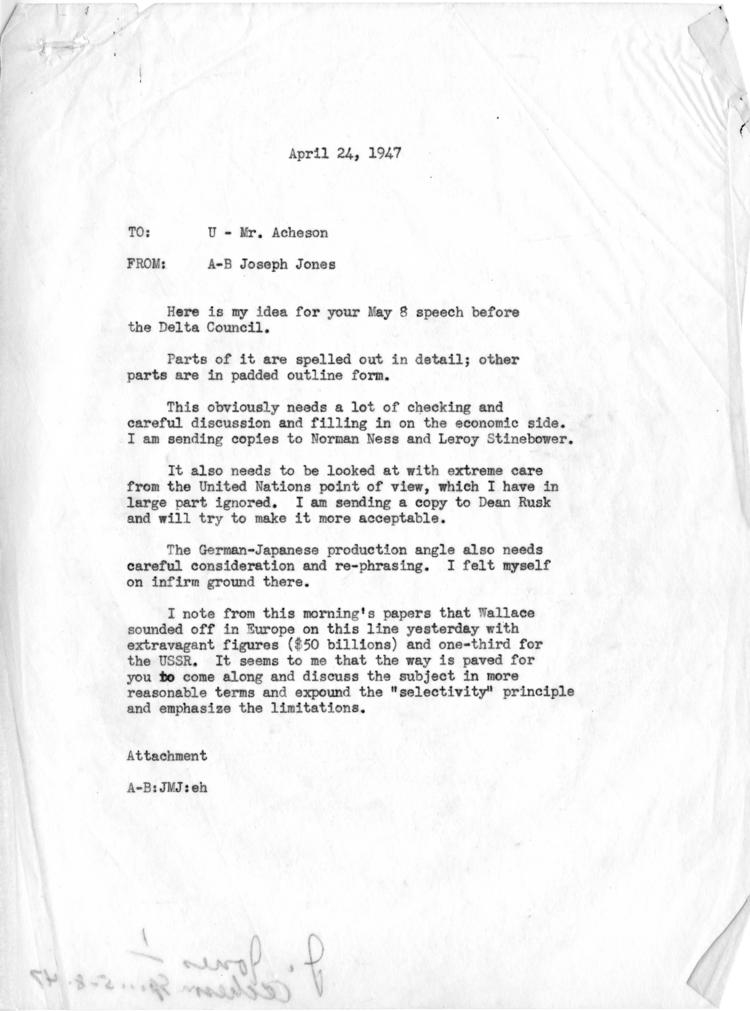 Joseph M. Jones to Dean Acheson, with attached draft outline notes for speech