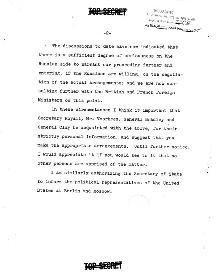 Memo re: Soviet Lifting of Blockade
