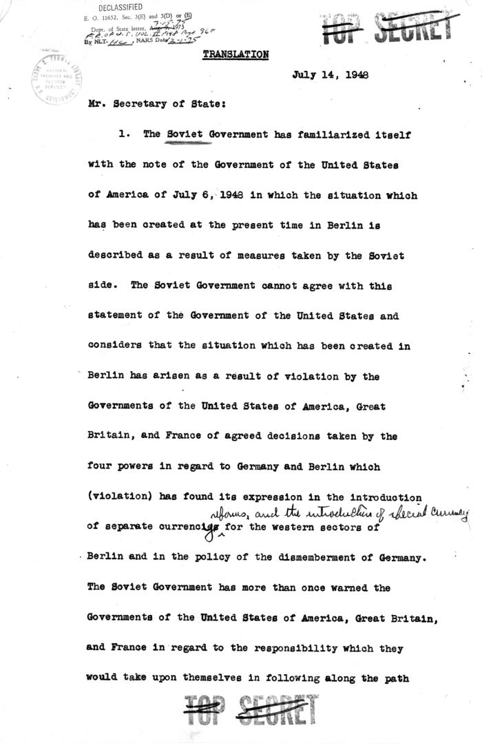 Translation memo, Alexander Paniushkin to George C. Marshall