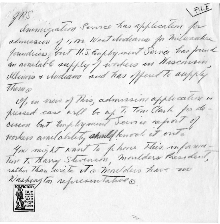 Correspondence Between Joseph Joebken and John Steelman
