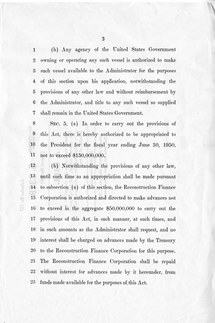 "S. 2319, ""A Bill to Promote World Peace...by Providing Aid to the Republic of Korea"""