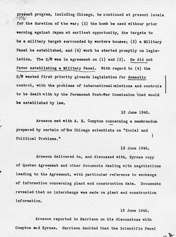 Log of the Interim Committee of the Manhattan Project