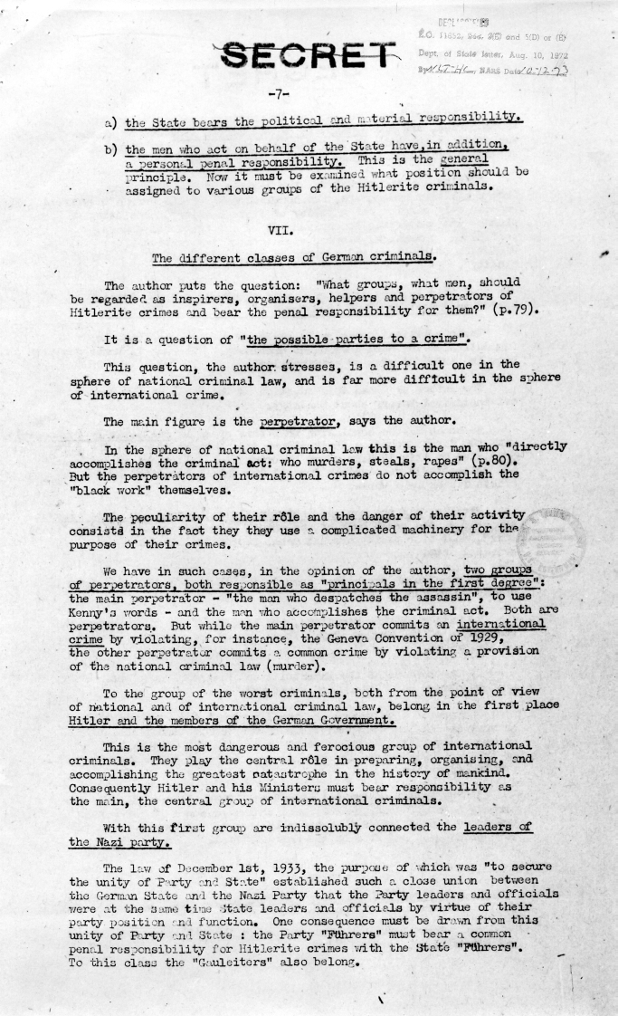 "Memorandum from the United Nations War Crimes Commission, ""Report Made by Dr. Ecer on Professor Trainin\'s Book\"""