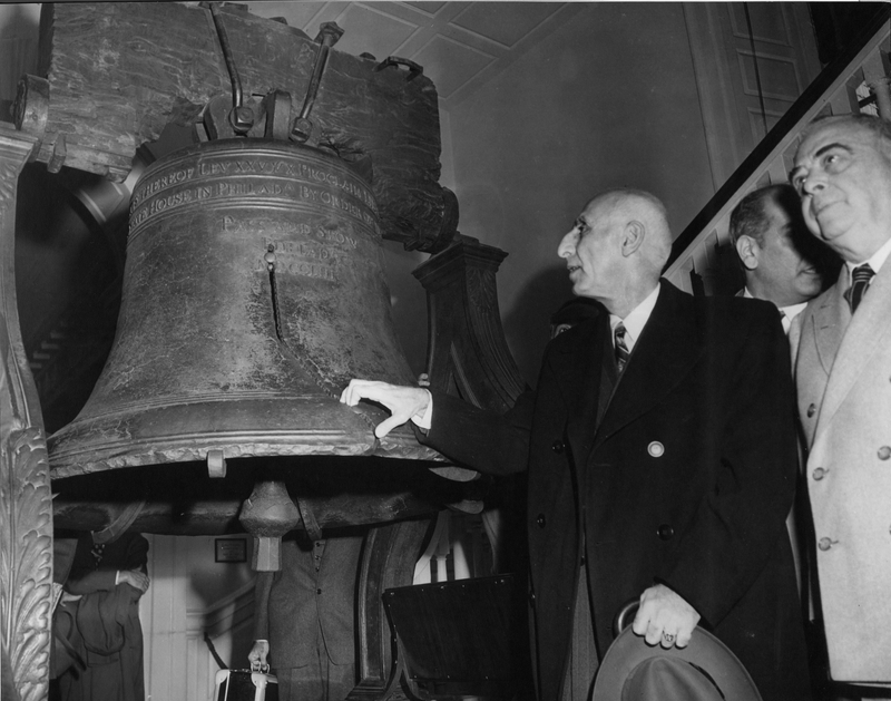 Prime Minister Mossadegh Of Iran Viewing The Liberty Bell Harry S Truman