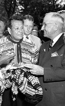 Chief Osceola presents President Harry S. Truman with a shirt, December 6, 1947.