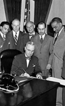 President Truman signs Philippine Immigration Bill, July 2, 1946.