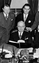 Truman with the Subversive Activities Committee, February 20, 1947.